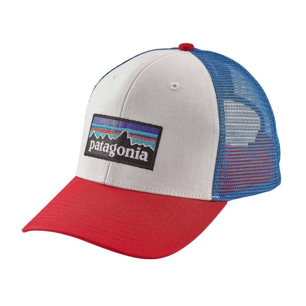 Patagonia P-6 Logo Trucker Hat, White w/Fire/Andes