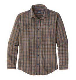 Patagonia M's L/S Pima Cotton Shirt, Inby Plaid Small: Smolder Blue
