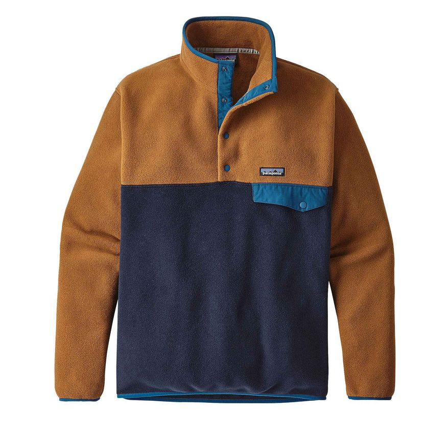 Patagonia Men's Lightweight Synch Snap-T Pullover, Navy Blue/Bear Brown