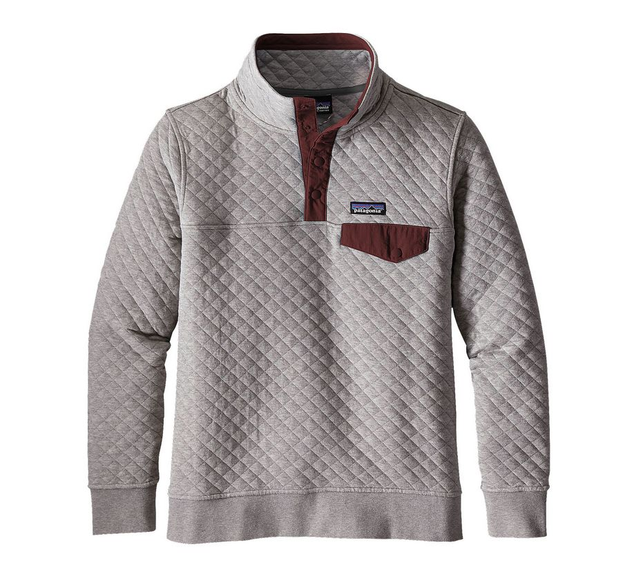 Patagonia Women's Cotton Quilt Snap-T Pullover, Drifter Grey w/ Dark Ruby