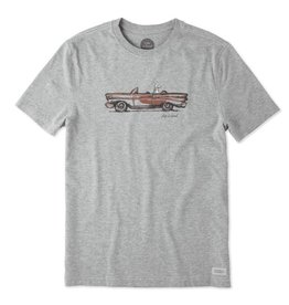 Life is Good Men's Crusin' Dog Crusher Tee, Heather Grey