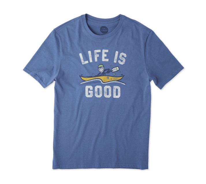 Life is Good Men's Kayak Life Is Good Smooth Tee, Vintage Blue