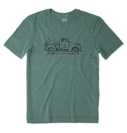 Life is Good M Vintage Truck Bike Cool Tee, Fresh Green