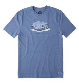 Life is Good Men's Beach Vista Crusher Tee, Heather Vintage Blue