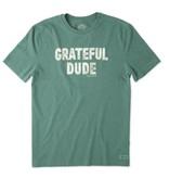 Life is Good Men's Grateful Dude Crusher Tee, Heather Forest Green