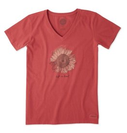 Life is Good Women's Sunflower Crusher Vee, Clay Red