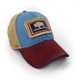S.L. Revival Co. Everyday Trucker Hat, Structured, Surfing Wyoming Buffalo, Port and Sky