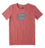 Life is Good Women's Family Forever Fish Cool Tee, Clay Red