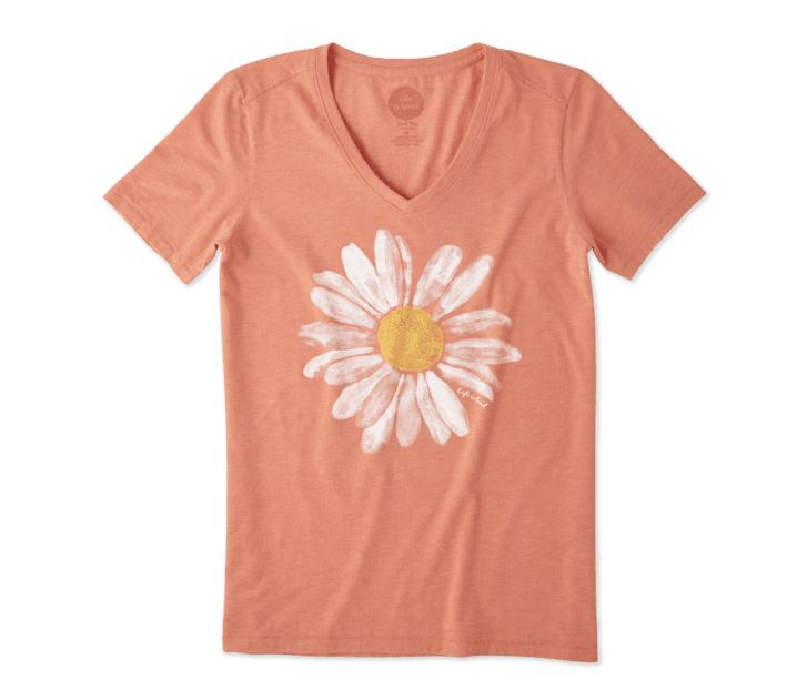 Life is Good Women's Daisy Watercolor Cool Vee, Fresh Coral
