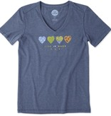 Life is Good W SS 365 Hearts Cool Vee, Darkest Blue