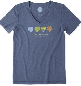 Life is Good Women's 365 Hearts Cool Vee, Darkest Blue
