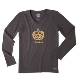 Life is Good Women's Jack O Lantern LIG Long Sleeve Crusher Vee, Night Black