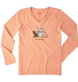 Life is Good Women's Life Was Good Cat Long Sleeve Crusher Vee, Fresh Coral