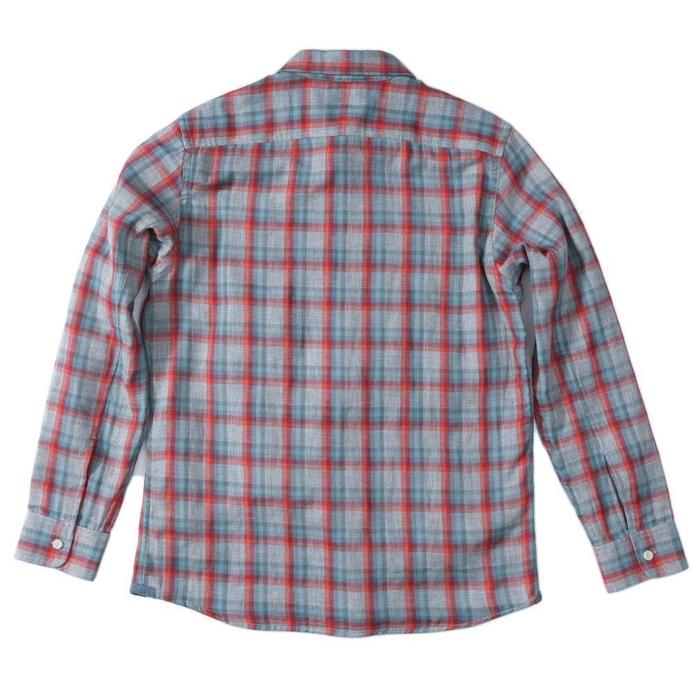 Grayers Sherman Double Cloth, Red Seafoam Gray