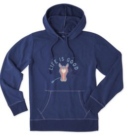 Life is Good Women's Horse LIG Go-To Hoodie, Darkest Blue