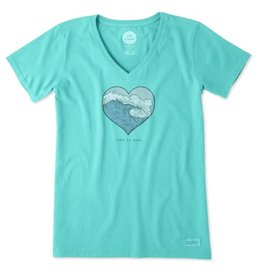 Life is Good Women's Life Is Good Heart Wave Crusher Vee, Bright Teal
