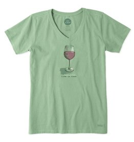 Life is Good Women's Half Full Wine Crusher Vee, Minty Green