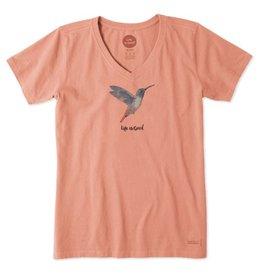 Life is Good Women's Hummingbird Crusher Vee, Fresh Coral