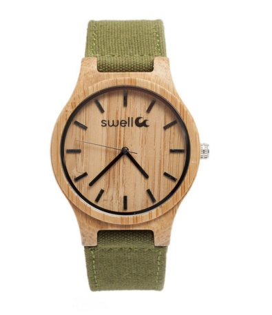 Swell Vision The Backpacker Bamboo Watch, Forest