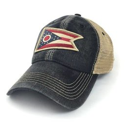 S.L. Revival Co. Ohio Flag Patch Trucker Hat, Black
