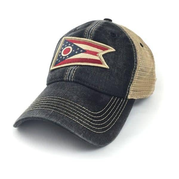 S.L. Revival Co. Ohio Flag Patch Trucker Hat, Black