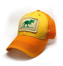 S.L. Revival Co. Everyday Trucker Hat, Structured, Surfing T-Rex, Sunshine
