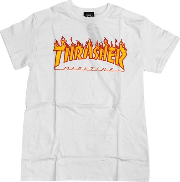 Eastern Skate Supply Thrasher Flame Tee, White