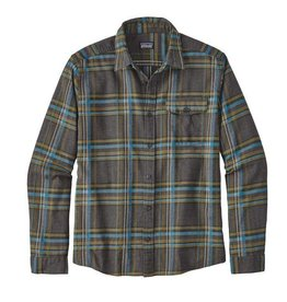 Patagonia M's L/S LW Fjord Flannel Shirt, Watershed: Forge Grey