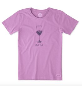 Life is Good W Crusher Tee Half Full Wine glass-Dusty Orchid
