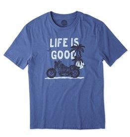 M Smooth Tee Motorcycle Beach-Vintage Blue