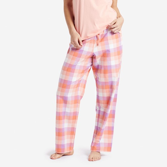 Life is Good W Classic Sleep Pants Fresh Coral Plaid