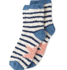 Life is Good W Snuggle Star Stripes Crew Socks