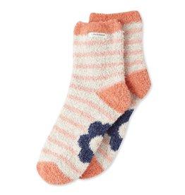 Life is Good W Snuggle Flower Stripes Crew Socks