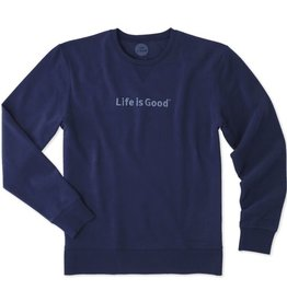 Life is Good M Go-To Crew LIG Bold Embossed, Darkest Blue