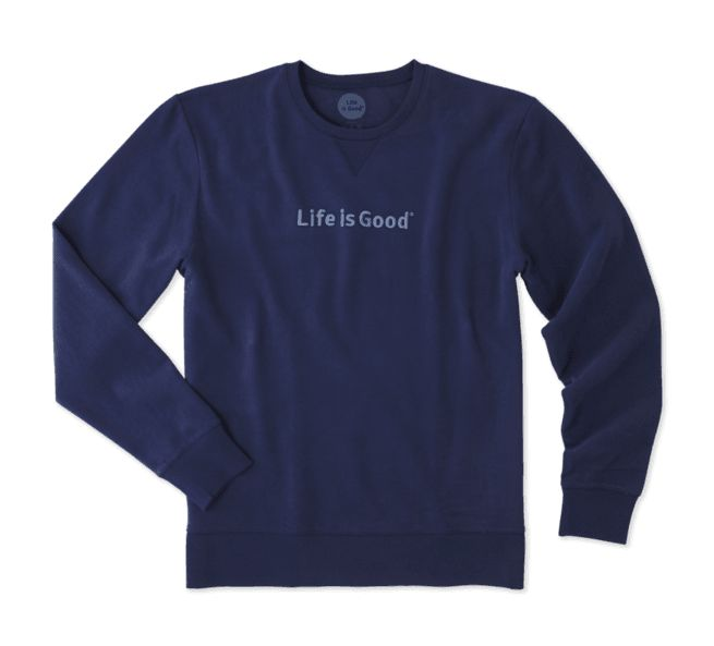 Life is Good M Go-To Crew LIG Bold Embossed, Darkest Blue