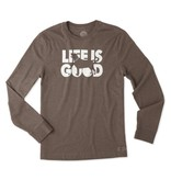 Life is Good M Crusher Tee L/S Fetch-Heather Rich Brown