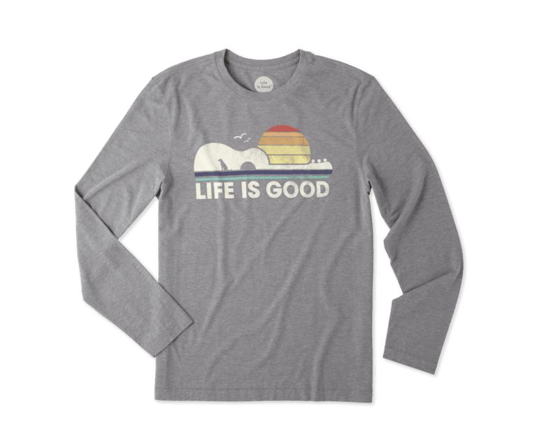 Life is Good M Guitar Dog L/S Cool Tee-Slate Gray