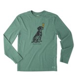 Life is Good M Man's Best Friend L/S Crusher Tee-Heather Forest Green