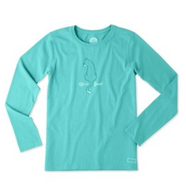 Life is Good W Cat Back L/S Crusher Tee-Bright Teal
