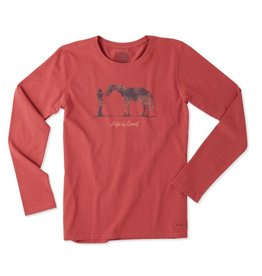 Life is Good W Horse L/S Crusher Tee-Clay Red