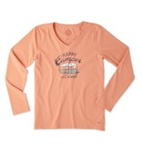 Life is Good W Happy Camper L/S Crusher Vee-Fresh Coral