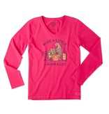 Life is Good W Crusher Vee L/S Cornicopia Wine- Pop Pink