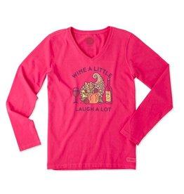 Life is Good W Crusher Vee L/S Cornicopia Wine- Pop Pink