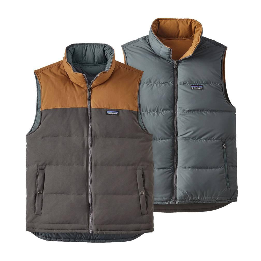 Patagonia Men's Reversible Bivy Down Vest, Forge Grey/Bear Brown