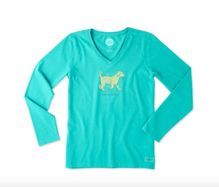 Life is Good W Crusher Vee L/S Life is Golden, Bright Teal