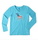 Life is Good W Crusher Vee L/S Dog Flag Cool Turquoise