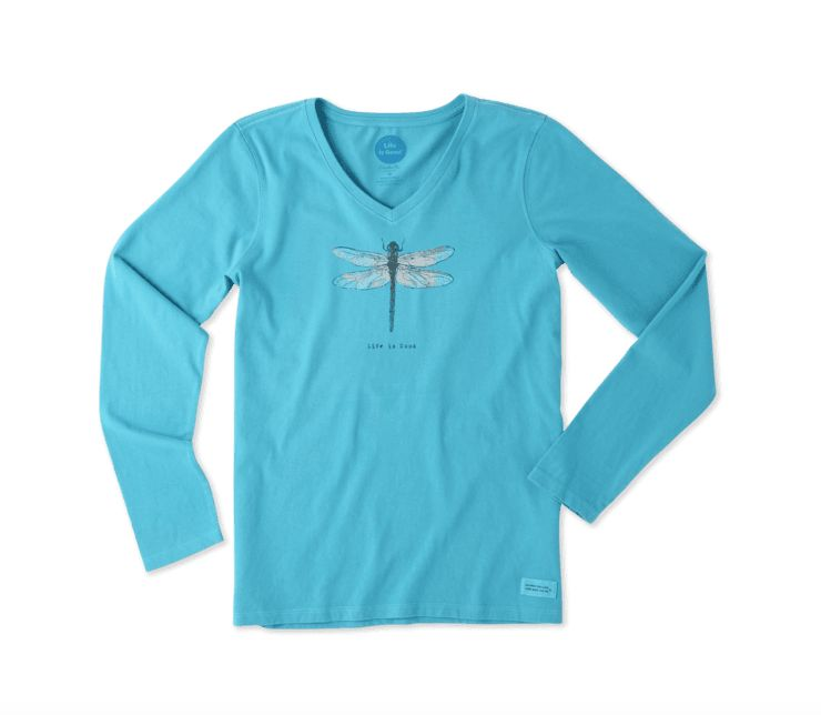Life is Good W Crusher Vee L/S Dragonfly , Cool Turquoise
