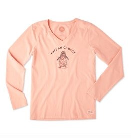 Life is Good W Crusher Vee L/S Ice Daisy , Chalky Peach