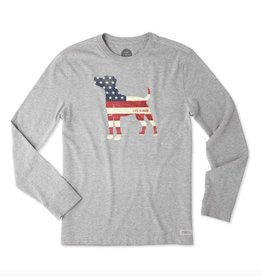 Life is Good M Crusher L/S Dog Flag, Heather Gray