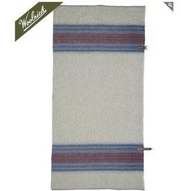 Fireside Wool Blanket Poncho, Denim Stripe
